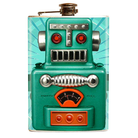 Retro Atomic Toy Robot DRINK BOT 2000 Flask - Domestic Platypus