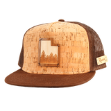 Domestic Platypus-Utah Treeline Wooden Inlay Trucker Cap, Rustek	- Handmade USA-Hat-[meta description]