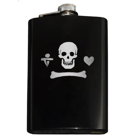 Domestic Platypus-Calico Jack Pirate Jolly Roger Flask-Flask-[meta description]