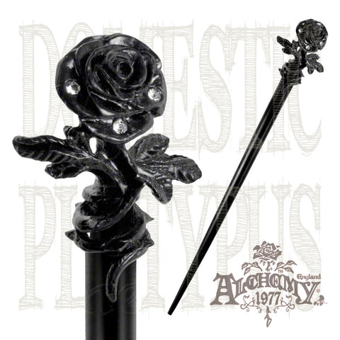 Alchemy Gothic BLACK ROSE of Passion Hair Stick