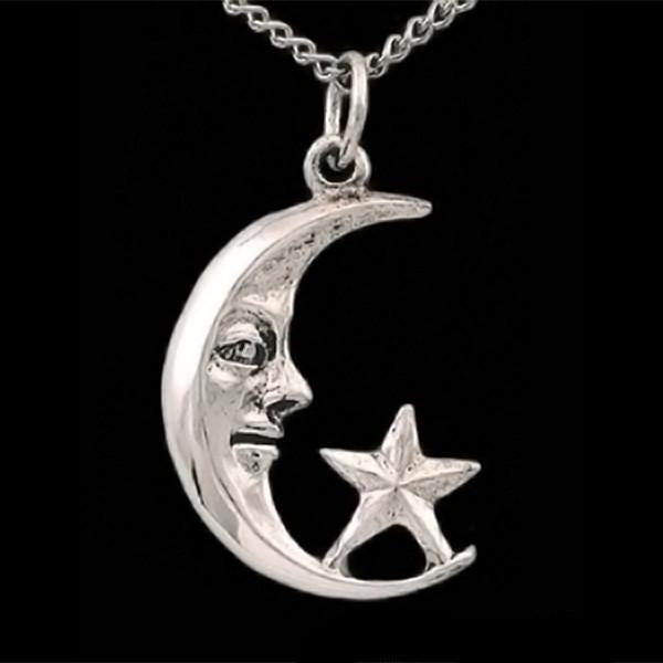 Crescent Moon and Star Pendant Necklace - Domestic Platypus