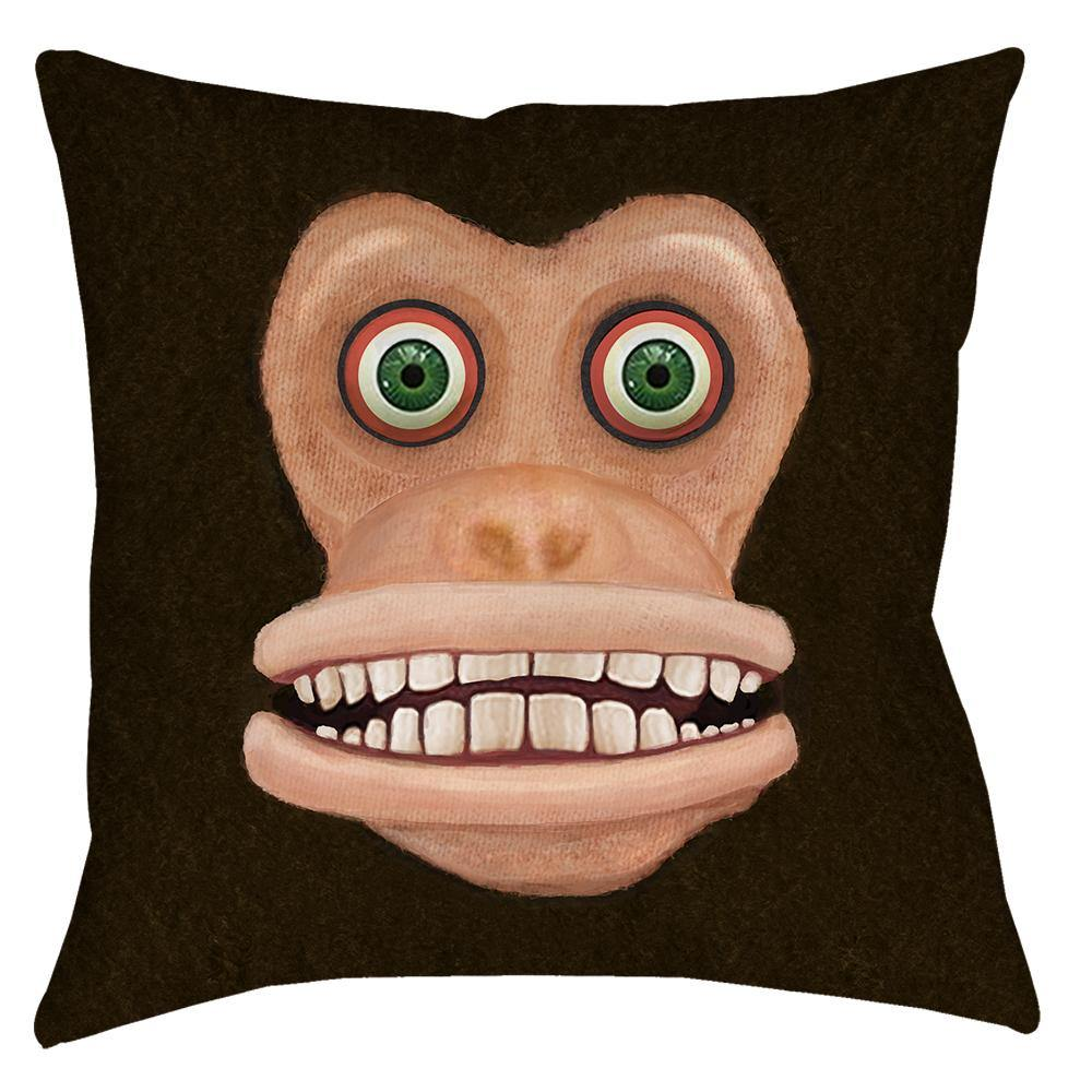 Maniacal Monkey Throw Pillow