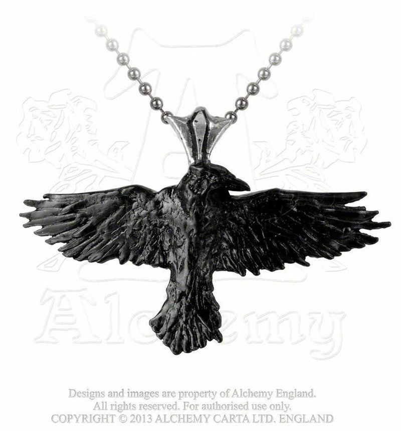 Alchemy Gothic BLACK RAVEN Pendant Necklace