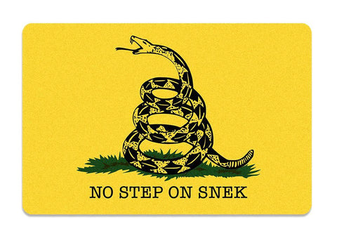 Domestic Platypus-No Step on Snek Doormat - Funny Gadsden Snake Don't Tread Parody Meme-Doormat-[meta description]