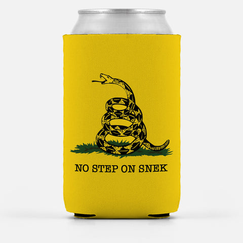 Domestic Platypus-No Step on Snek Can Cooler, Funny Gadsden Don't Tread On Me Meme Wrap-Koozie-[meta description]