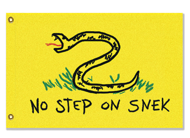 Domestic Platypus-No Step on Snek Flag, Drawn Version, Funny Gadsden Parody Snake Meme -Flag-[meta description]