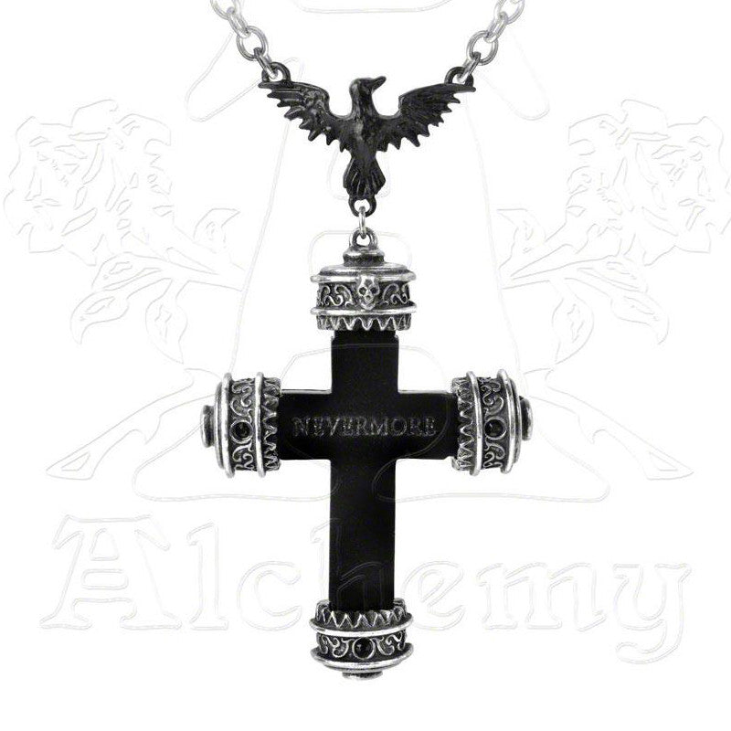 Alchemy Gothic NEVERMORE CROSS Pendant Necklace - Domestic Platypus