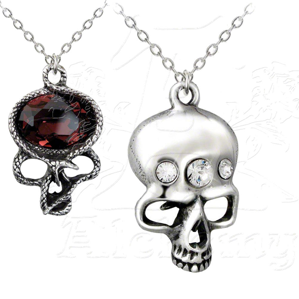Alchemy Gothic DEMON IN MY HEAD Reversible Skull Necklace