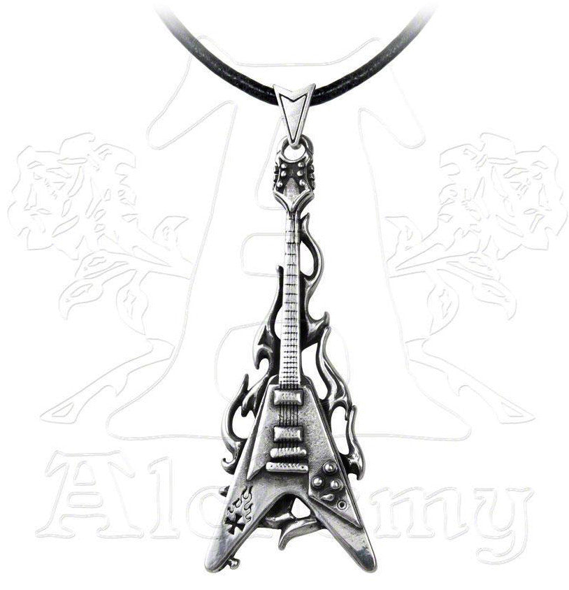 Alchemy Metal Wear Flaming Flying V Electric Guitar Necklace