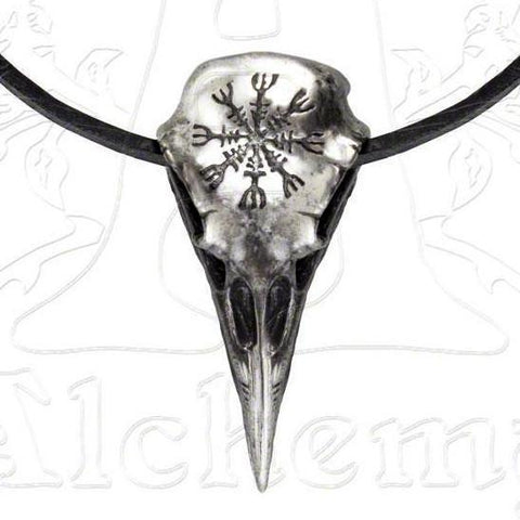 Alchemy Metal Wear HELM OF AWE Aegishjalmur Raven Skull Necklace