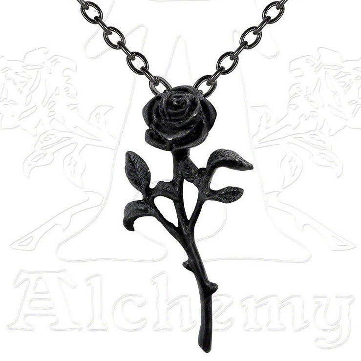 Alchemy Gothic ROMANCE OF THE BLACK ROSE Pendant Necklace - Domestic Platypus