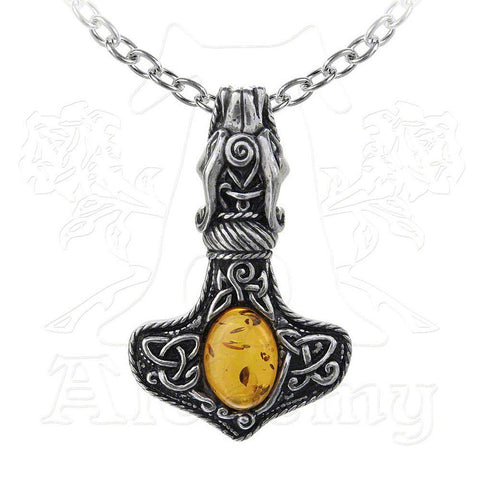 Alchemy Gothic AMBER DRAGON THOR'S HAMMER Pendant Necklace - Domestic Platypus
