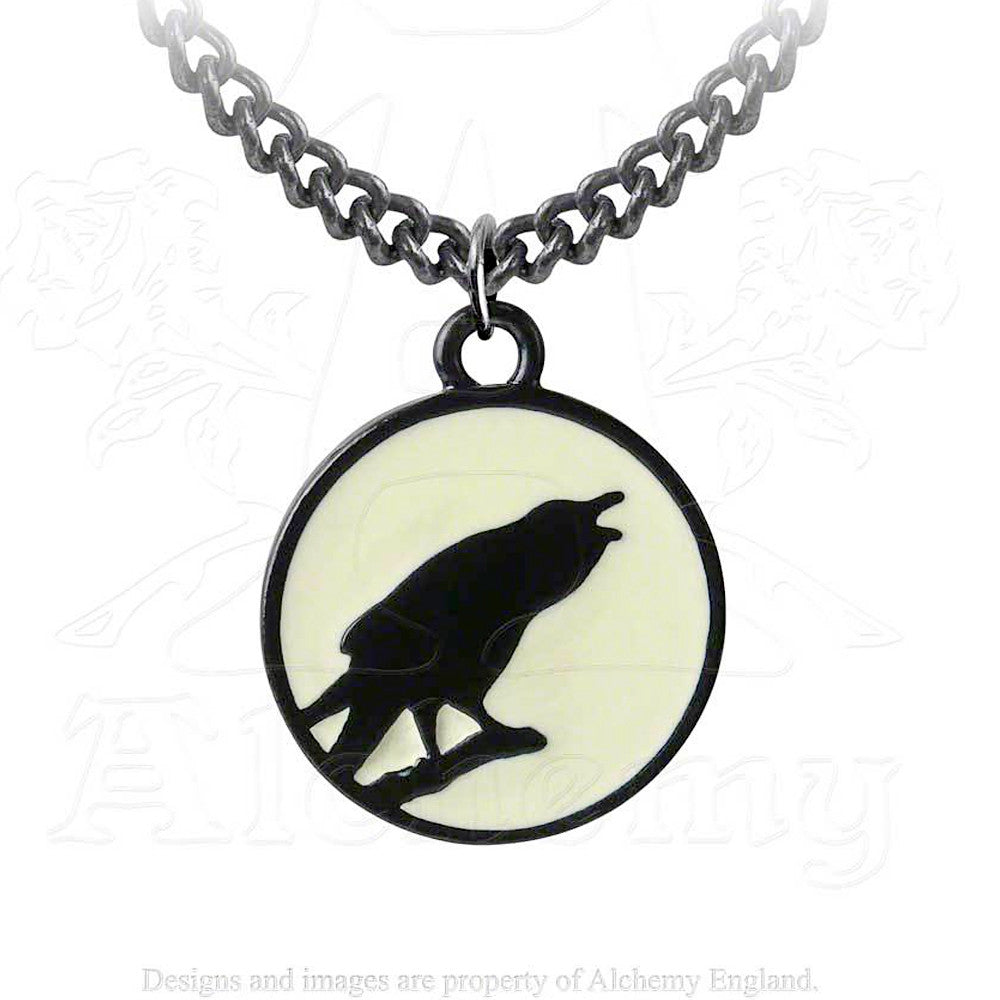 Alchemy Gothic CAW AT THE MOON Raven Pendant Necklace - Domestic Platypus