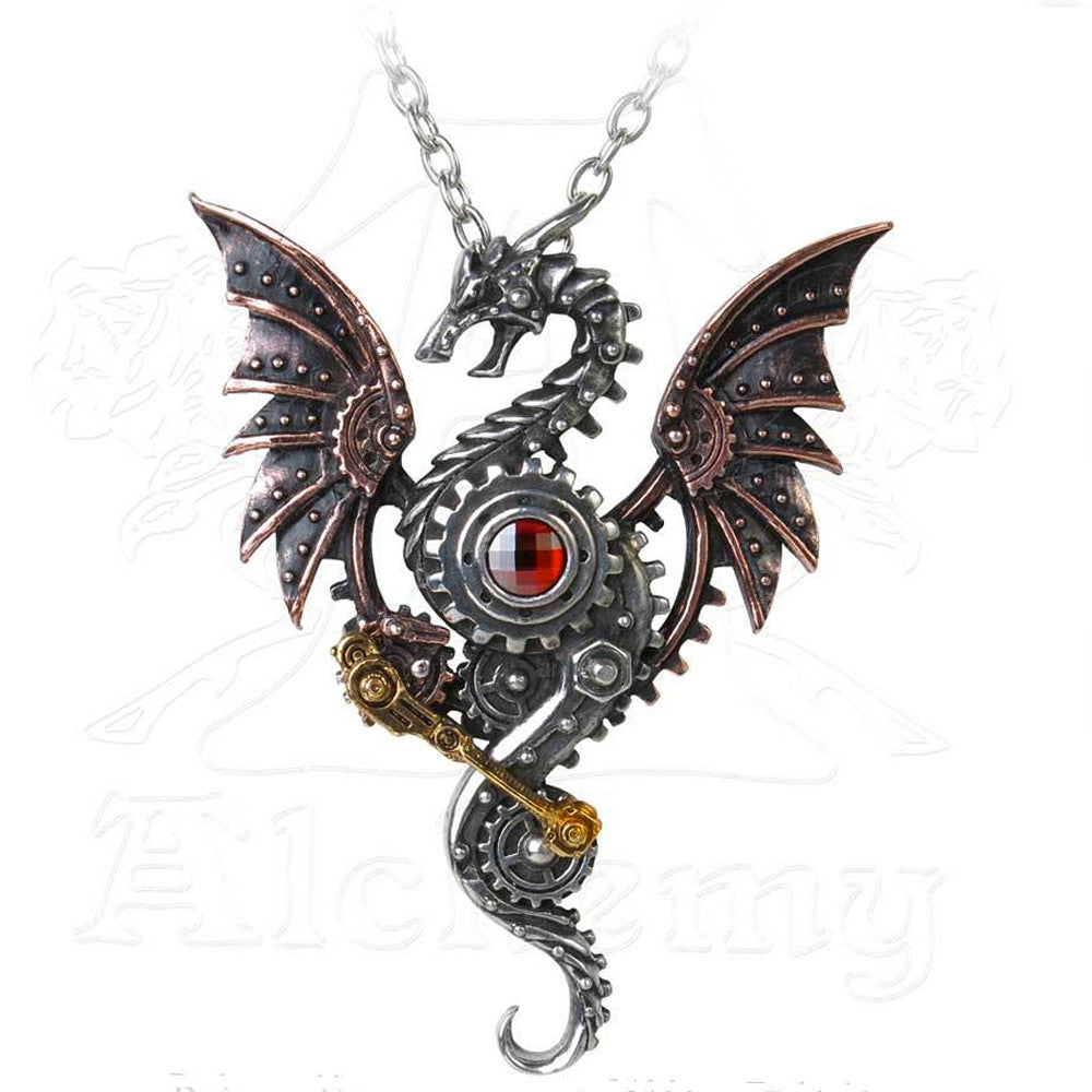 Alchemy Empire BLAST FURNACE BEHEMOTH Steampunk Dragon Necklace - Domestic Platypus