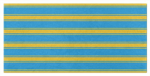 Blue and Yellow Striped Beach or Bath Towels