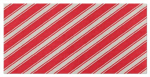 Red and White Angled Stripe Beach or Bath Towels