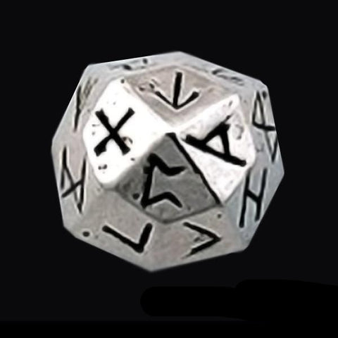 Sterling Silver Elder Futhark Rune 24-Sided Die - Domestic Platypus