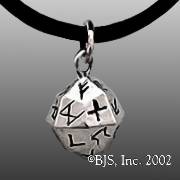 Sterling Silver Elder Futhark Rune 24-Sided Die Necklace
