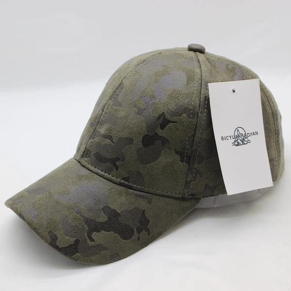Olive and Rust Weathered Camouflage Overlay Cap