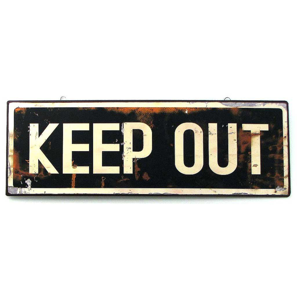 Vintage Style KEEP OUT Tin Sign