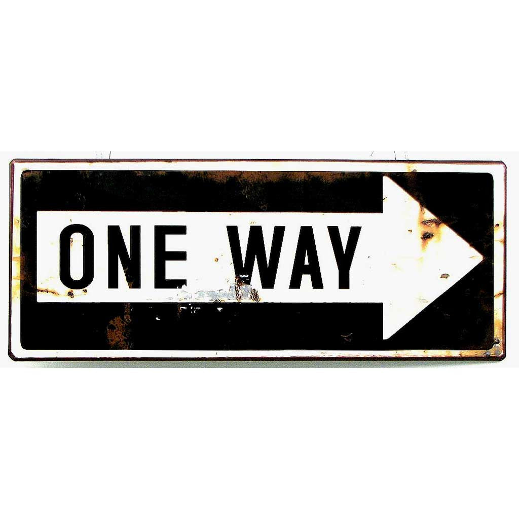 Vintage Style ONE WAY Arrow Road Sign - Domestic Platypus