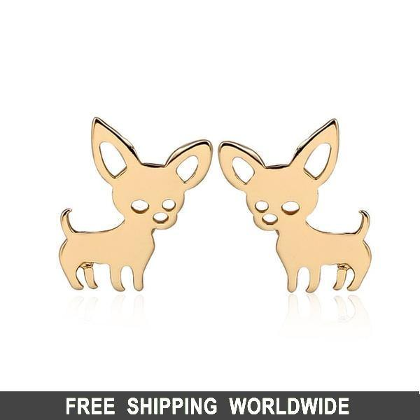Chihuahua Stud Earrings, Stainless Steel