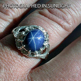 Lord of the Rings VILYA Elrond's Elven Ring of Power - Silver & Star Sapphire - Domestic Platypus