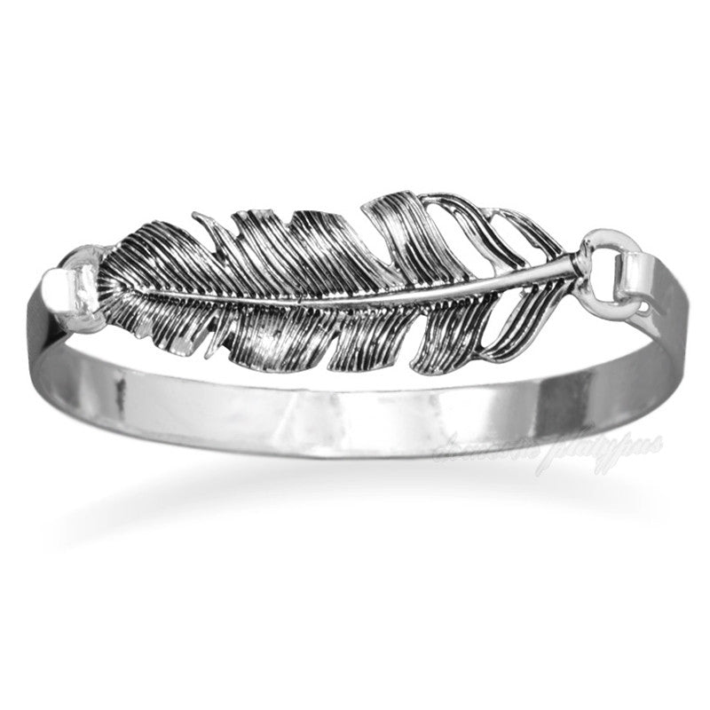 Silvertone FEATHER BANGLE Bracelet - Domestic Platypus
