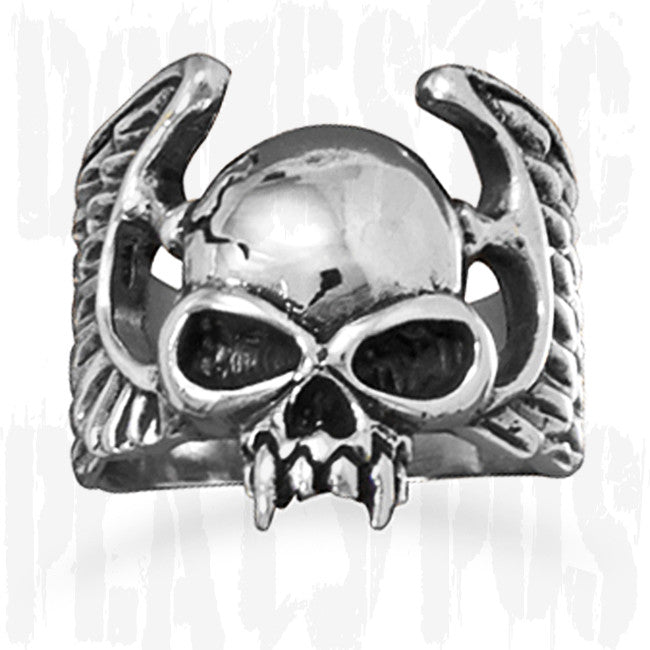 Wildfire White Brass VAMPIRE SKULL Ring - Domestic Platypus
