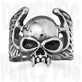 Wildfire White Brass VAMPIRE SKULL Ring