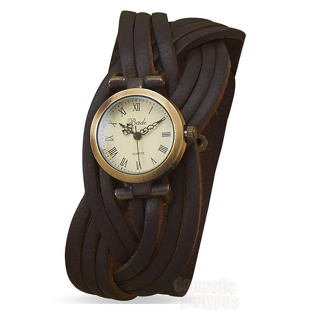 Bade Wide Brown Braided Leather Fashion Watch - Domestic Platypus