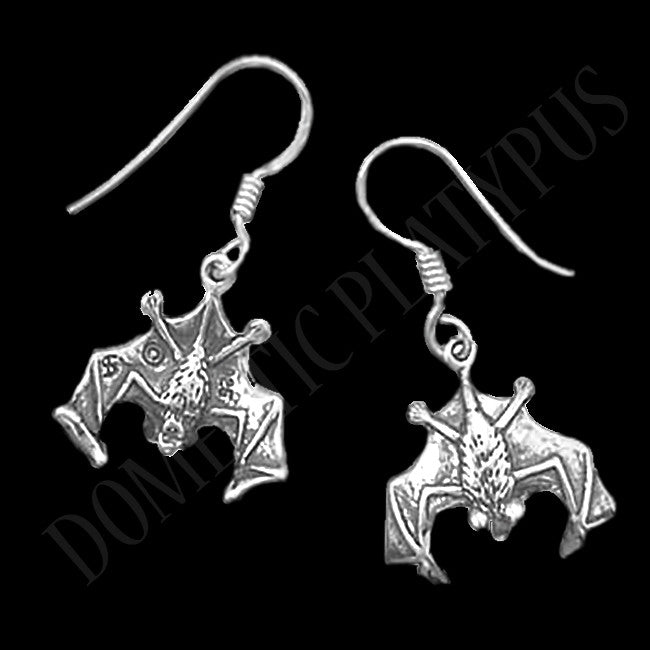 Sterling Silver Hanging Bat Earrings - Domestic Platypus