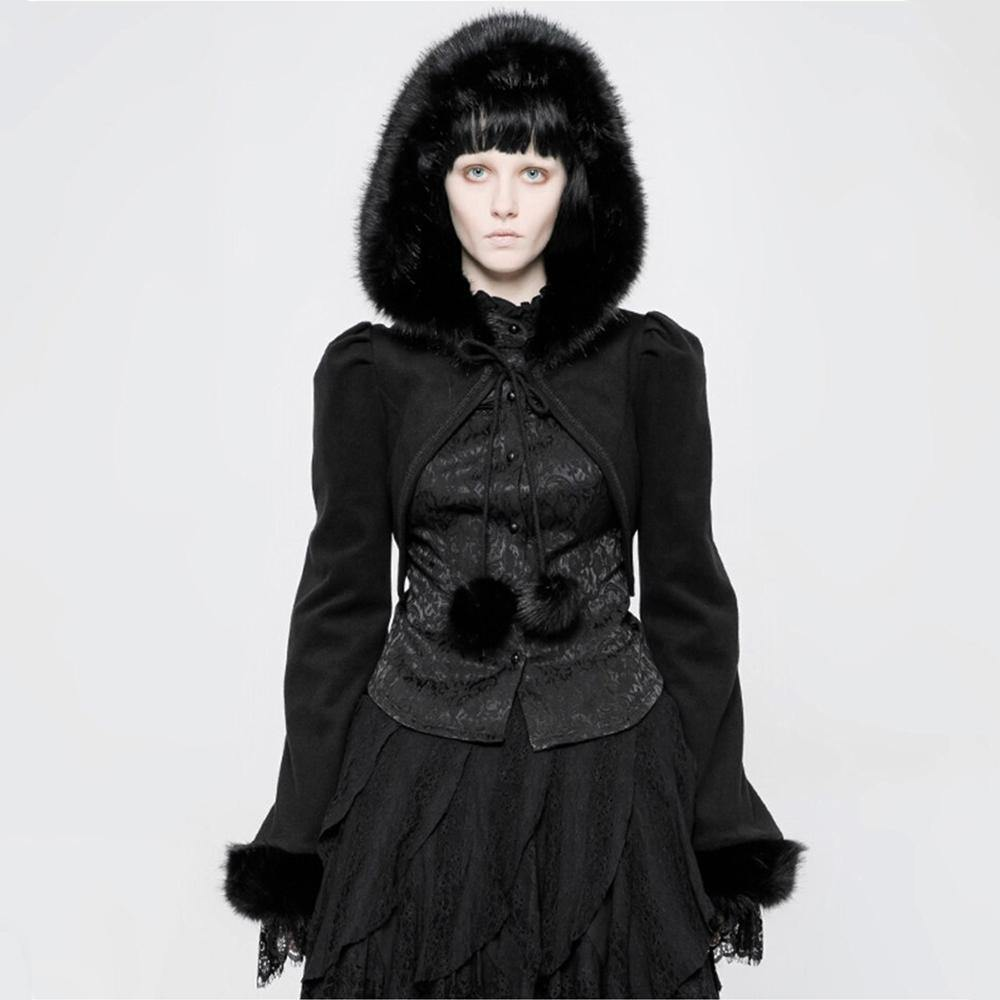 Domestic Platypus-Punk Rave ILSA SHRUG Hooded Victorian Gothic Faux Rabbit Fur Jacket -Shrug-[meta description]