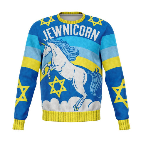 Domestic Platypus-MAGICAL JEWNICORN SWEATSHIRT Jewish Unicorn Ugly Holiday Sweater Print-Sweatshirt-[meta description]