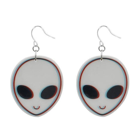 Friendly Grey Acrylic Earrings, Innergalactic