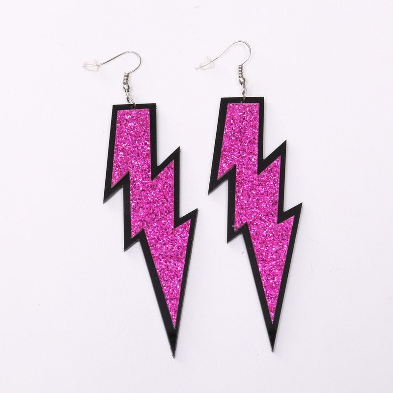 Glittering Oversize Acrylic Lightning Bolt Earrings