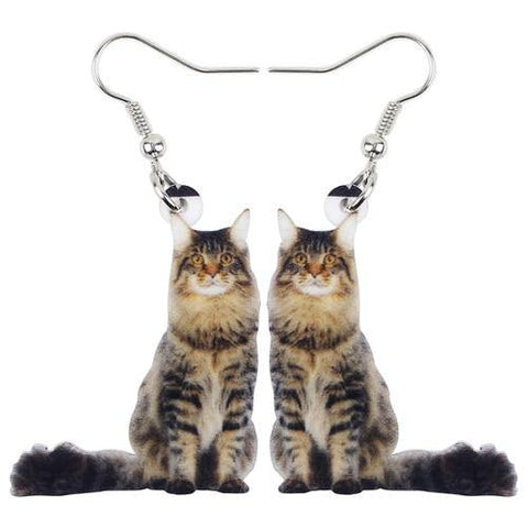 Long Haired Cat Acrylic Earrings