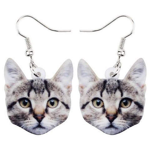 Cat Face Acrylic Earrings