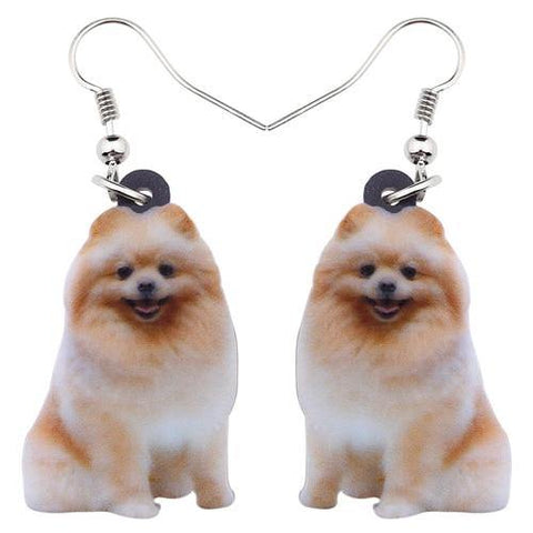 Pomeranian Dog Acrylic Earrings