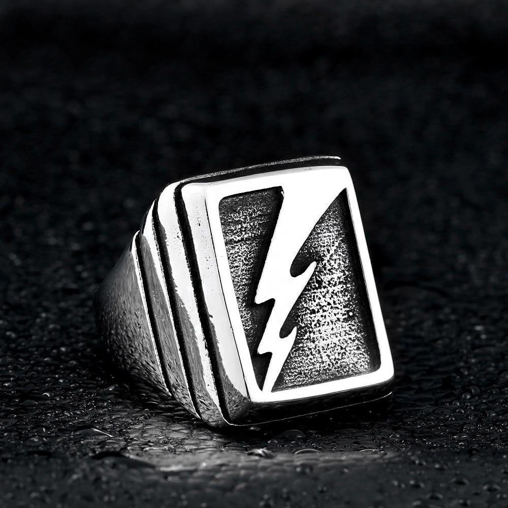Lightning Strike Ring, Stainless Steel