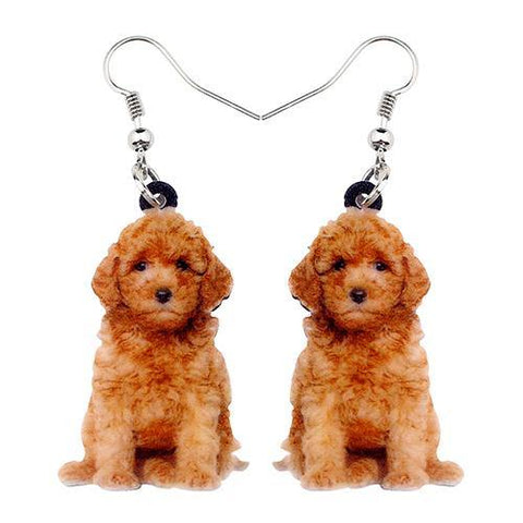 Goldendoodle Puppy Acrylic Earrings