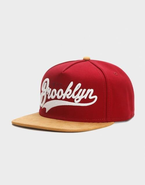 Brooklyn Fastball Script Cap, Red and Tan