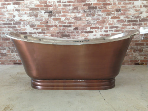 Copper Freestanding Bath Nickel Inside, Copper External