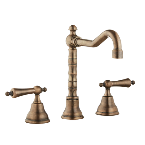 Three Hole Lever Taps English Spout - Metal Lever
