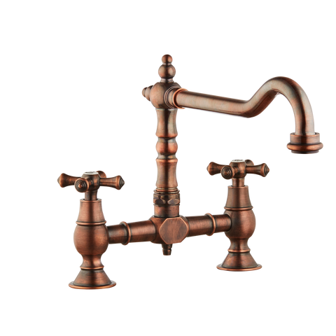 Brunel Bridge Sink Mixer - Cross Handle - Antique Copper / Cross Handle