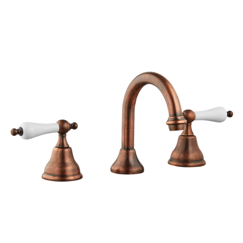 Three Hole Lever Taps Goose Spout - Porcelain Lever