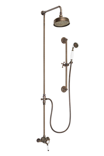 Ceramique Exposed Shower System Arm Rose Diverter & Flexible Kit