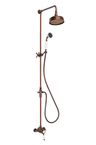 Ceramique Exposed Shower System Arm Rose Diverter & Handshower