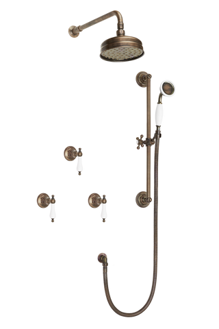 Wall Tap Shower System With Arm Rose Diverter & Slide Bar Handshower - Porcelain Lever