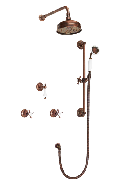 Wall Tap Shower System With Arm Rose Diverter & Slide Bar Handshower - Cross Handle